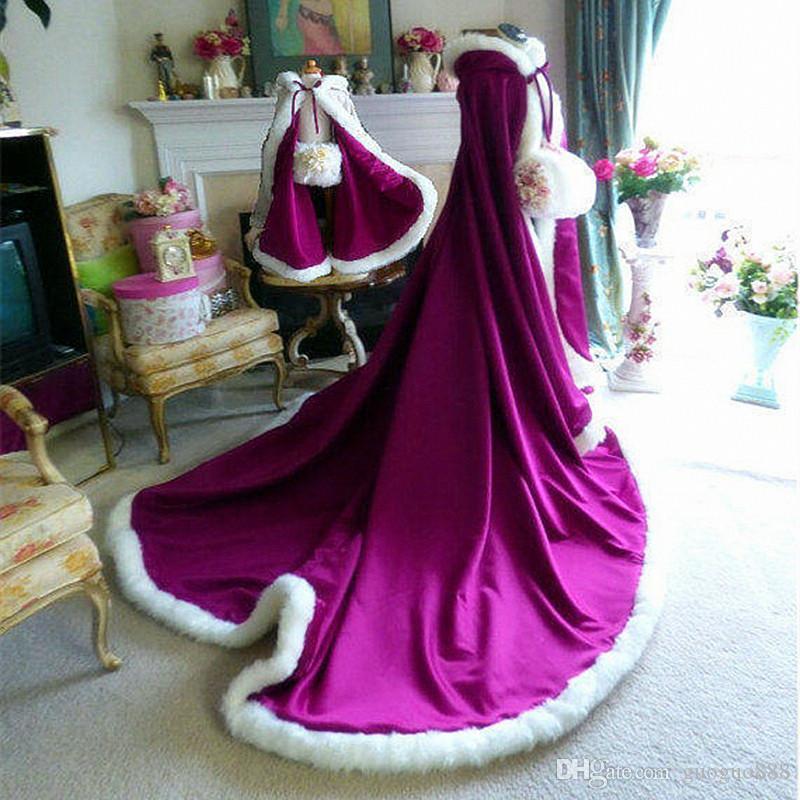 2019 Winter Grape-Purple satin floor Length Hooded Girls Cape Wedding Cloaks Faux Fur Jacket For Winter Kid Flower Girl Coats