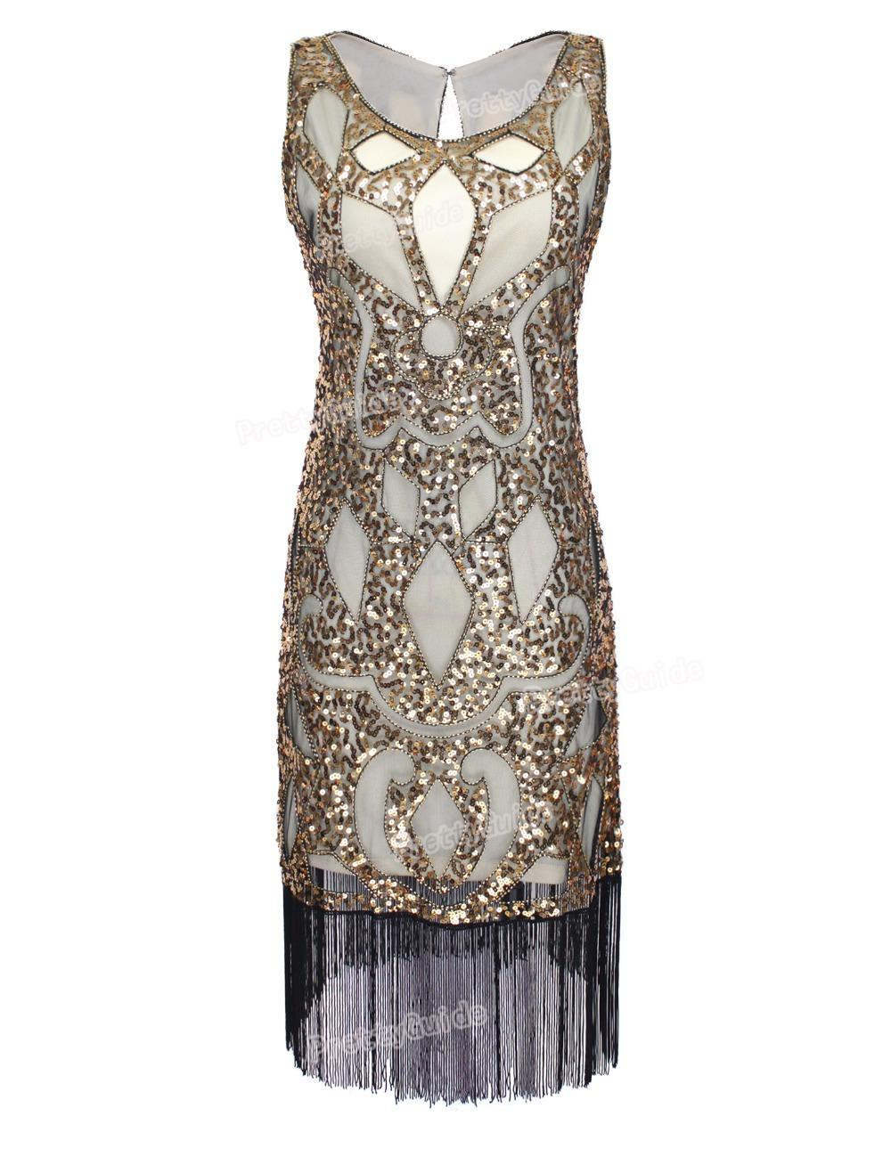 2878c6bf Wholesale- PrettyGuide Women 1920's Sequin Art Deco Hollow Paisley Tribe Cocktail  Inspired Flapper Dress Great Gatsby Dress