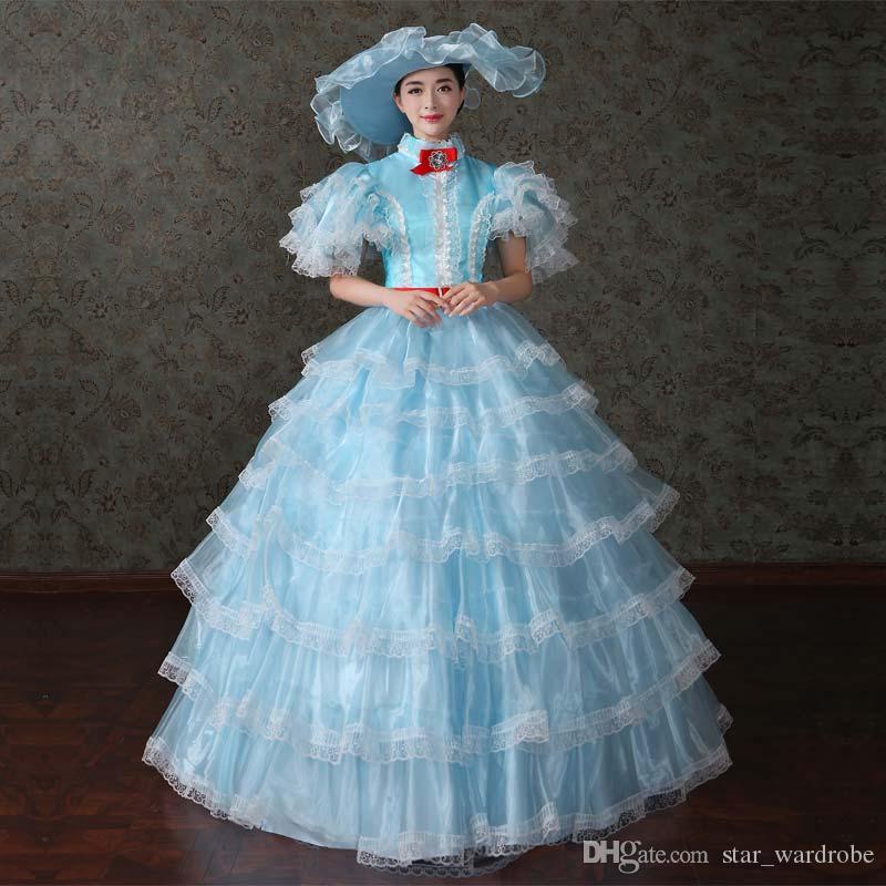 2016 Newest Blue Renaissance Southern Belle Civil War Ball Gowns ...