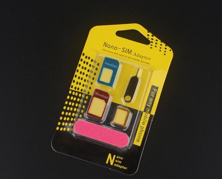 New Aluminium Metal SIM Card Adapter Carte Nano Slim à Micro Standard Slim 5 en 1 avec épinglette Carte SIM pour tous les appareils de téléphonie mobile au détail