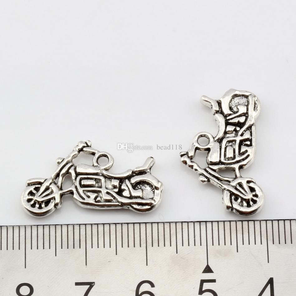 Motorfiets Charms Hangers 150 stks / partijen 24.5x14mm Antiek Zilver / Brons Alloy Sieraden DIY Fit Armbanden Ketting Oorbellen