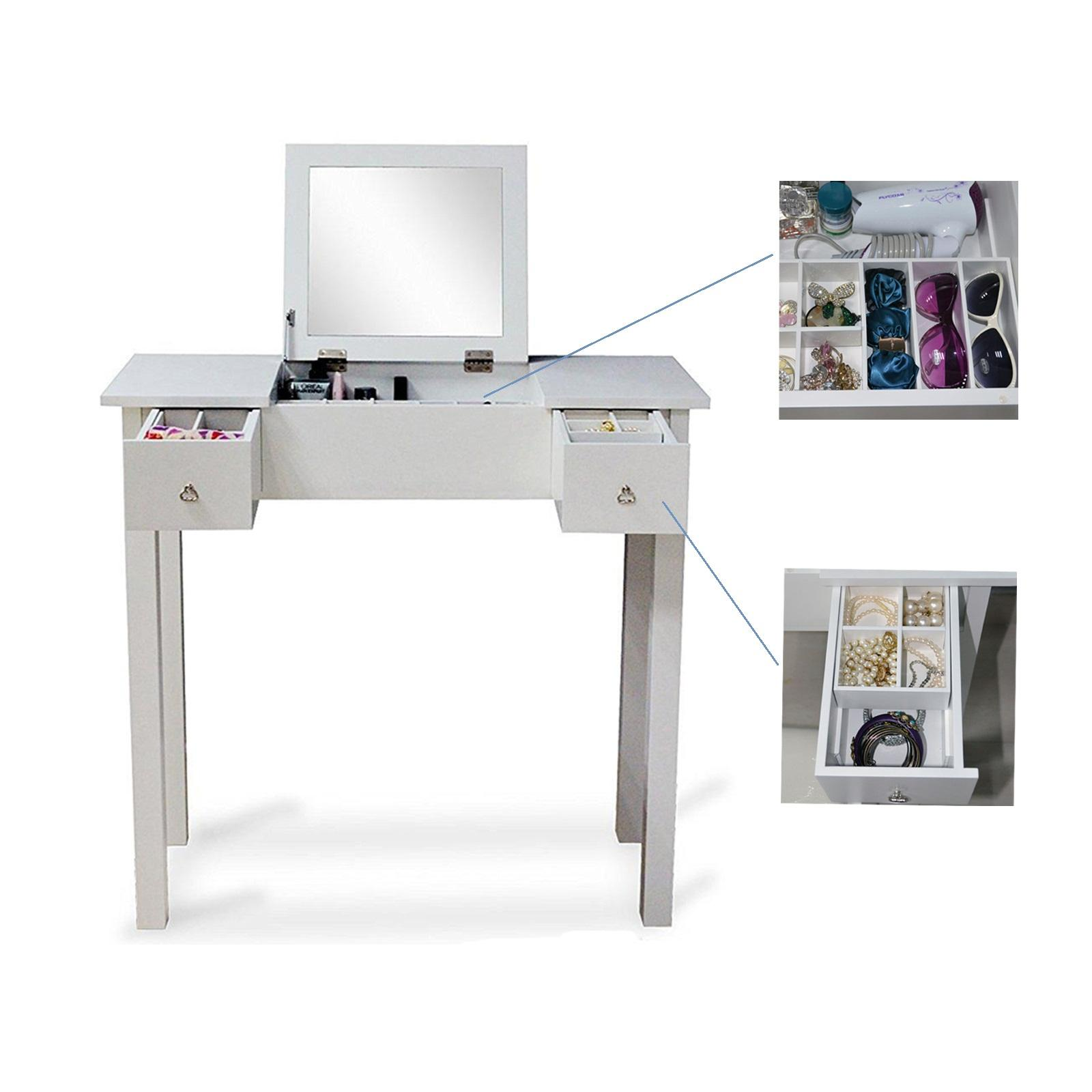 2018 White Vanity Table Makeup Desk Jewelry Comsetic Storage Organizer With Dressing Mirror And 2 Drawers Usa Stock From Fashionyourlife 135 68 Dhgate
