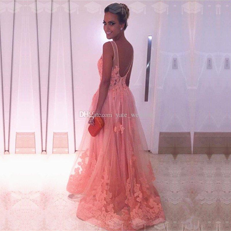 Gorgeous Appliqued Tulle Long Evening Dresses Scoop Illusion Straps Backless Blush Pink Evening Gowns 2018 Ball Gown Prom Dresses