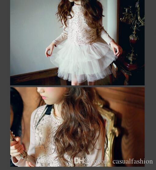 Kundenspezifische Günstige Blume Mädchen Kleider für Hochzeit 2017 Spitze Applique Rüschen Kinder Formale Tragen Langarm Prinzessin Kleid