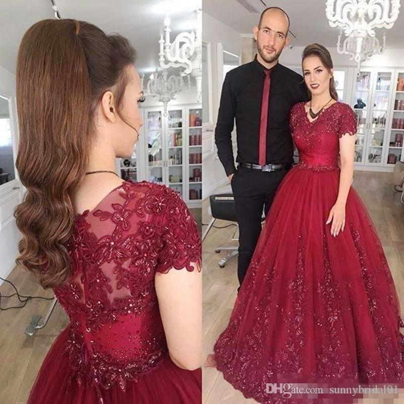 2017 Burgundy Short Sleeves Evening Dresses Long V Neck Lace Appliques Beads Arabic Prom Dress Long Zipper Back Vestidos Formal Party Gowns