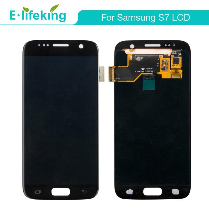 Samsung S7 Ekran Için süper Amoled LCD Dokunmatik Ekran Digitizer Meclisi Değiştirme Ücretsiz DHL Kargo ile 100% Test En Iyi Kalite