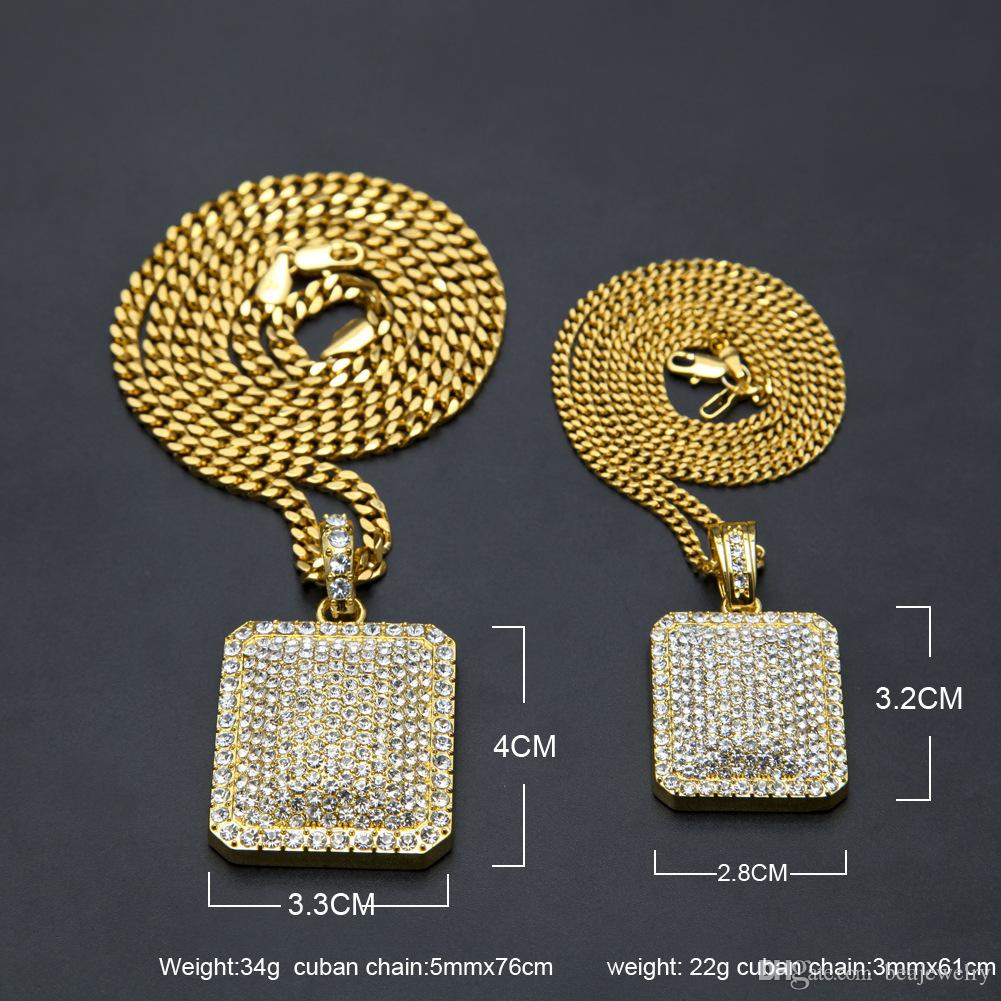 "Mens Full Iced Out CZ Gold Silver Plated Square Dog Tag Pendant 5mm*30'' / 3mm*24"" Cuban Chain Hip Hop Blingbling Necklace"