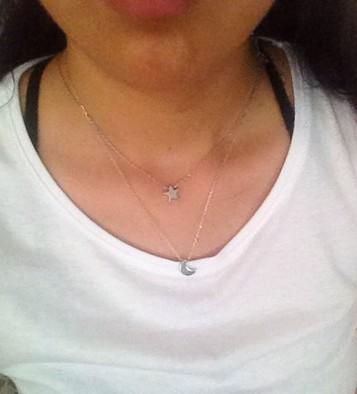 Gorgeous Moon & Star Necklaces 2-Layer Silver /Gold Tone Womens Chokers Necklaces Pendent Necklaces Party Casual Gifts