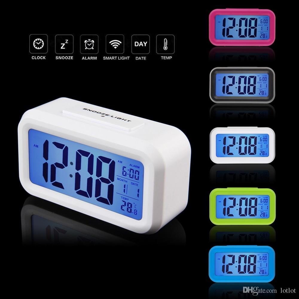 5 색 사각형 모양 LED 디스플레이 디지털 전자 알람 시계 백라이트 온도 제어 시간 달력 + 온도계