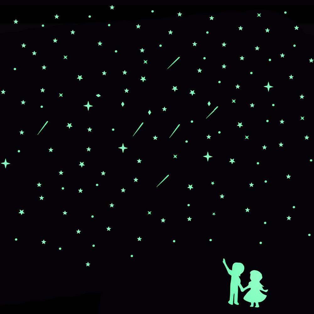 Wall stickers glowing - Romantic Meteor Shower Luminous Wall Stickers Glowing In Dark Home Decor Lover Star Circle Sticker Kids Rooms Ceiling Decoration Designer Wall Stickers