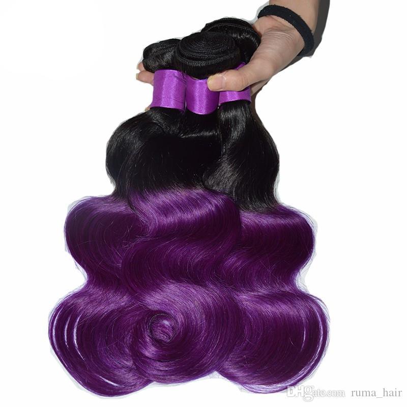 8A Malaysian Purple Ombre Spitze Schließung mit Bundles Two Tone # 1b Lila Menschliches Haar mit Schließung Cosplay Purple Dark Roots Bundles