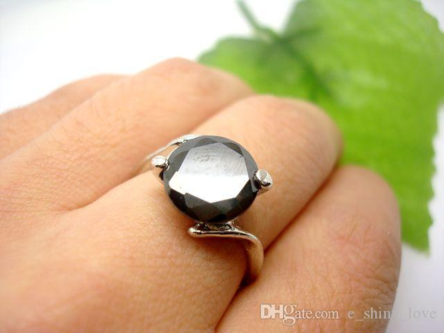Wholesale mixed Fashion High Quality Black Faceted Zircon Stone Rings mix Size for Woman Jewelry Rings Low Price