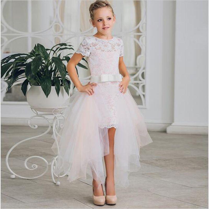 ade8a90e8 Compre 2017 Nueva Moda Florista Vestidos De Manga Corta Vestido De Encaje  Para Niños Con Lazo Desmontable Cola Vestido De Nina De Las Flores A  46.24  Del ...