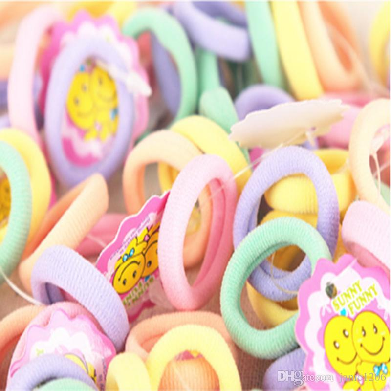 Candy Color 2.5cm diameter Seamless Elastic Ropes Baby Girls' Hair Bands Ties Kids Accessories