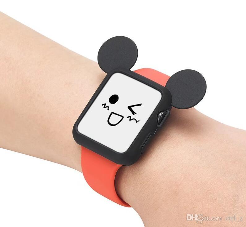 Cute cartoon rabbit Mouse ear Soft Silicone protective case for Apple Watch Case i Watch series 1 2 cover shell 38 42mm