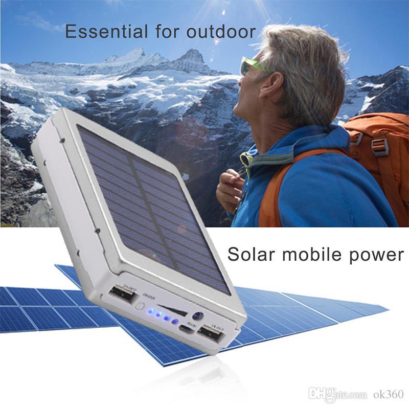 30000mah Cargadores de batería solares Luz portátil para acampar Doble USB Panel de energía solar Banco de energía con luz LED para teléfono móvil PAD Tablet