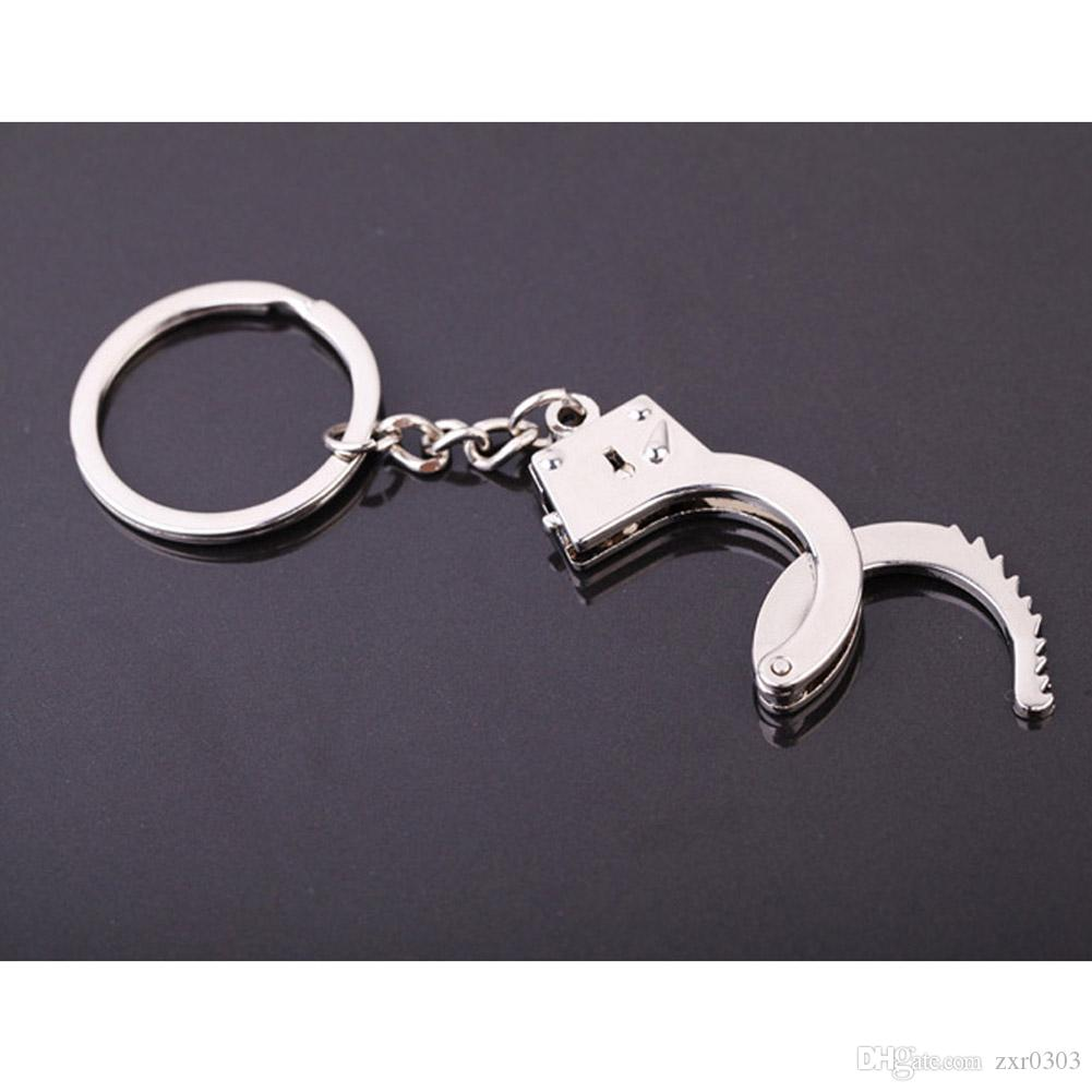 Новое прибытие подарок брелки брелок брелок брелок металлический ключ пряжки брелок автомобиля наручники мини размер кулон аксессуары