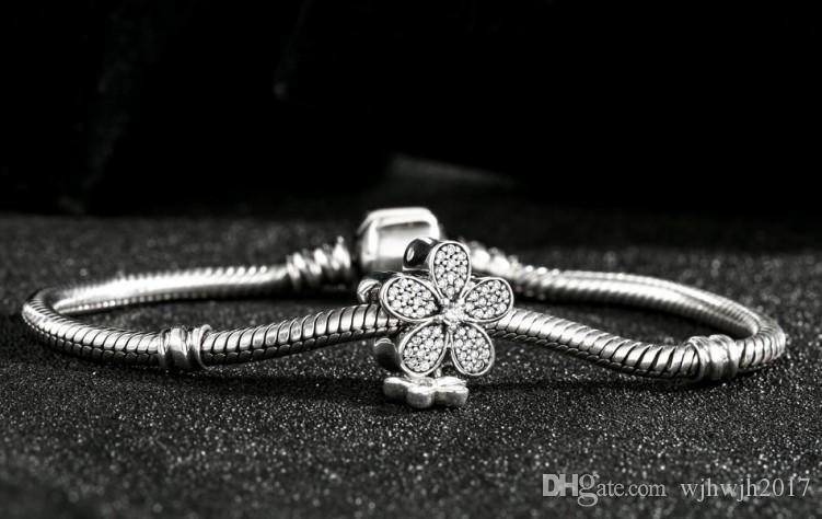 Göz kamaştırıcı Papatya Duo Charms Boncuk Otantik 925 Ayar-Gümüş-Takı Açacağı Kristal Çiçek Boncuk DIY Için Marka Logosu Bilezikler Takı Yapımı