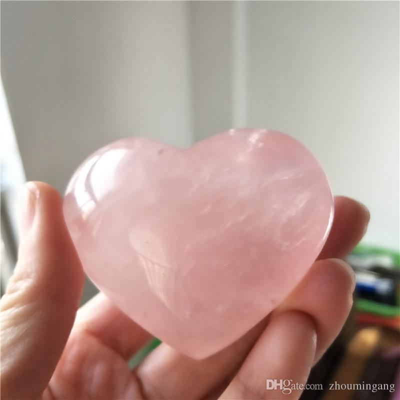 Quartz rose naturel sculpté cristal reiki sculpté amour de guérison purifier en forme de coeur pierre rose pierre précieuse pour l'amour romantique
