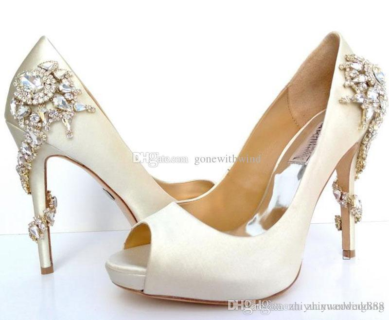 9c5ea3ceab6c 2017 Red White Wedding Shoes Peep Toe Heel Silk Bridal Shoes With  CrystalGenuine Leathers Shoes For Wedding Evening Prom Flat Shoes Gold Shoes  From ...