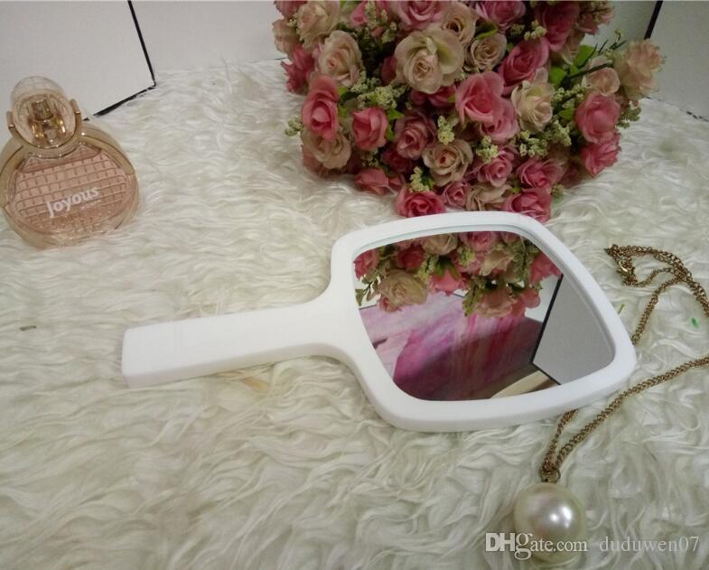 Clásico Acrílico maquillaje blanco y negro auténtico espejo de la vendimia a mano espejo de aumento herramientas con caja de regalo VIP