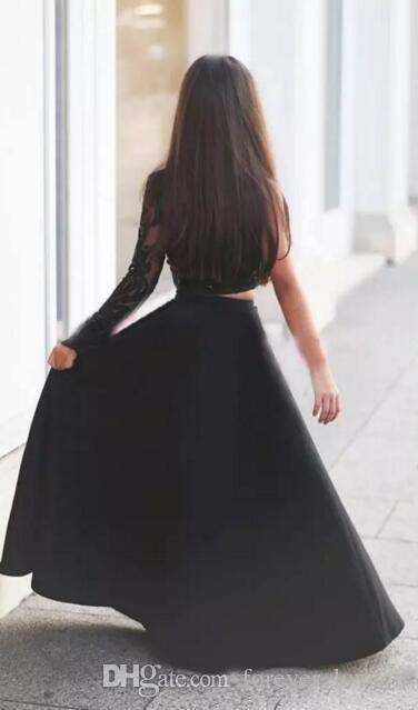Due pezzi nero One spalla ragazze Pageant Abiti illusione manica lunga cristalli in rilievo pizzo Top Floor Lengt Flower Girl Dress matrimoni