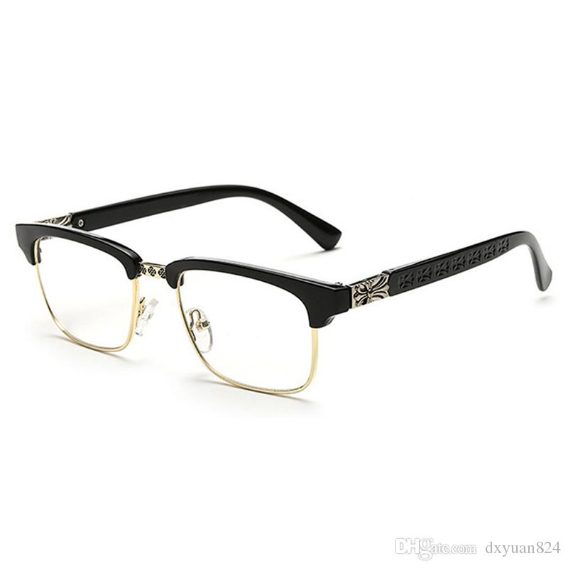 4a5b48ec641b 2019 D.King Women Vintage Retro Classic Half Frame Horn Rimmed Clear Lens  Glasses Clear Lens PU Glasses Mens Womens Eyewear Fashion Frame Unisex From  ...
