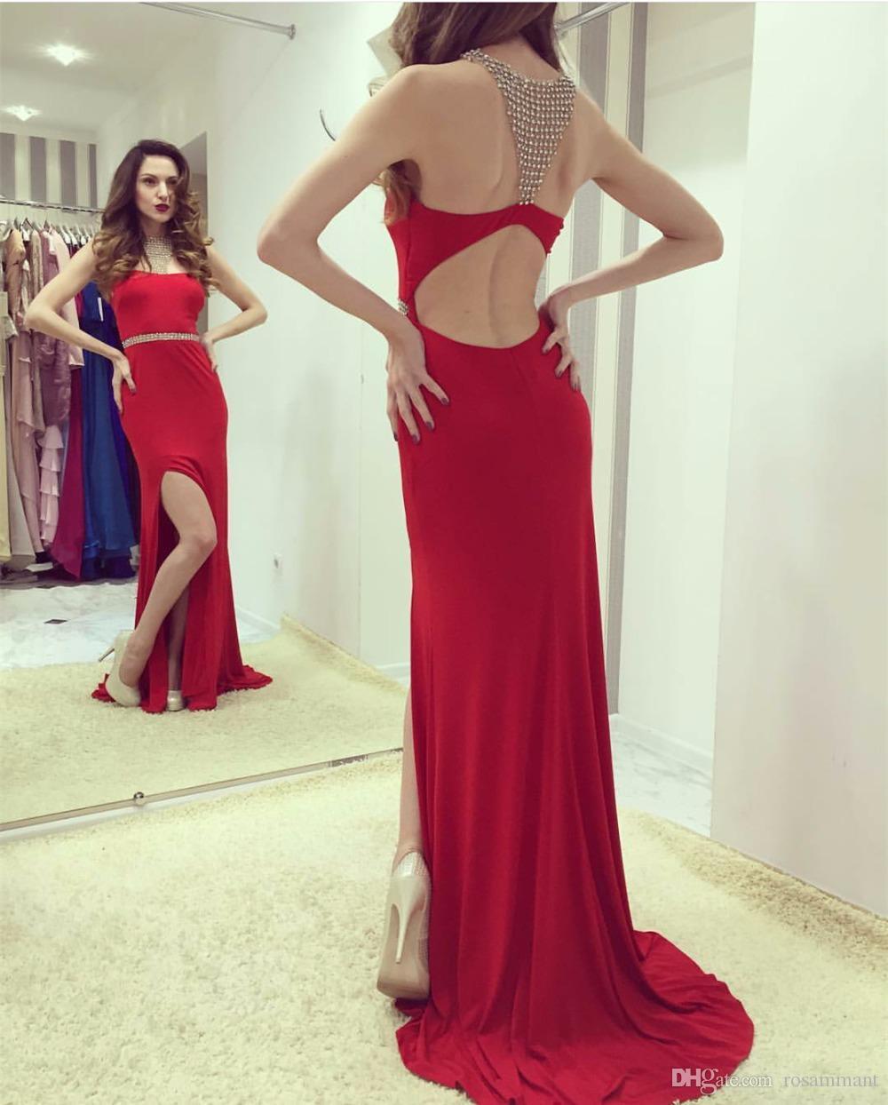 Новый Arrvial Сексуальный Разрез Красный Пром Платье Оболочка Открытой Спиной Красное Вечернее Платье На Заказ