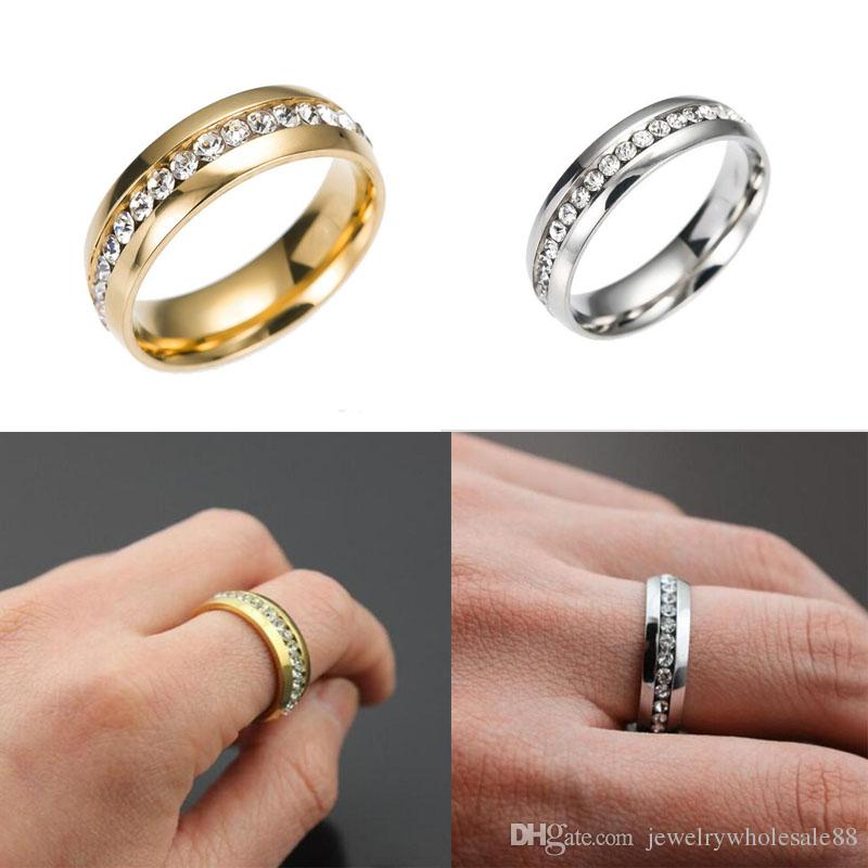 Women Men Fashion 316l Stainless Steel Crystal Wedding Rings For ...