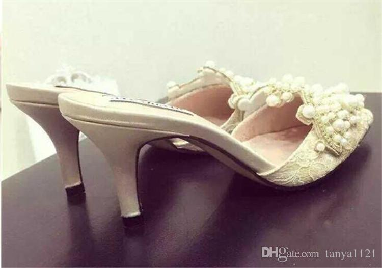 Party Banquet Womens Elegant Shoes PointedToes Shoes Summer Sandals Party Prom High Heels Shoe Heel 8 cm Pearl Crystal Lace Fast Shipping