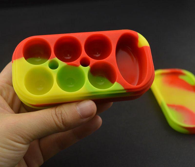 1 adet Silikon 6 + 1 yapışmaz Kavanozlar Dab Konteyner Silikon Kılıf Için buharlaştırıcı E Cigs Yağ Katı FDA Gıda Sınıfı Silikon Kutu Balmumu Konteyner