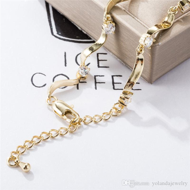 Antique Pattern Anklet Summer Bracelet 18K Yellow Gold Plated CZ Wave Foot Anklet Chain Sexy Anklets Foot Jewelry for Girls Women