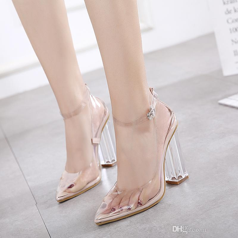 Womens Pointed Toe Clear Chunky High Heels Transparent Crystal ...