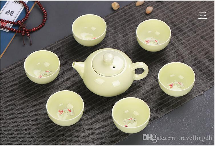 7PCs Chinese Tea Set Ceramic Portable Outdoor Travel Teapot With Carrying Bag