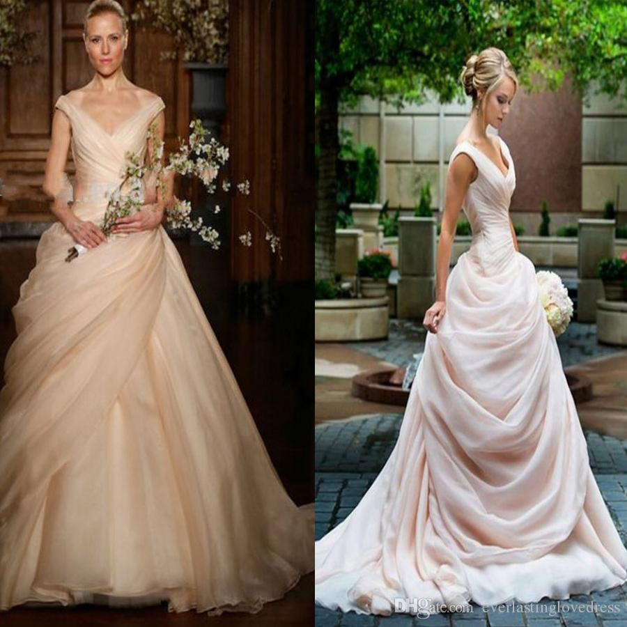Blush Pink Pick Up Ball Gown Wedding Dresses Long V Neck Side Draped ...