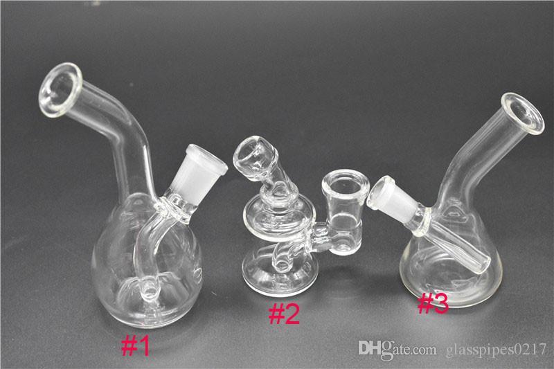 Mini bongs de diseño de 3 estilos Pipas de agua de vidrio Bongs Bongs de agua Pyrex con 10 mm 14 mm Junta vaso de precipitados percolador bubbler bong Tubos de agua Plataformas de aceite