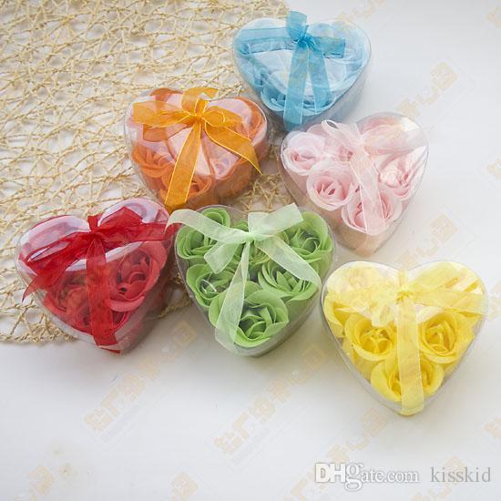 Savon à fleurs set fait dur savon de papier de fleurs de pétales de roses pourpre = 30box = 1box choisissez la couleur