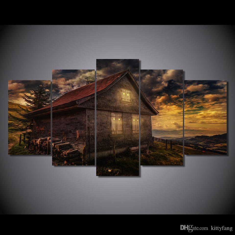 Framed HD Printed House Sunsets Great Clouds Picture Art Print Poster Canvas Modern Oil Painting
