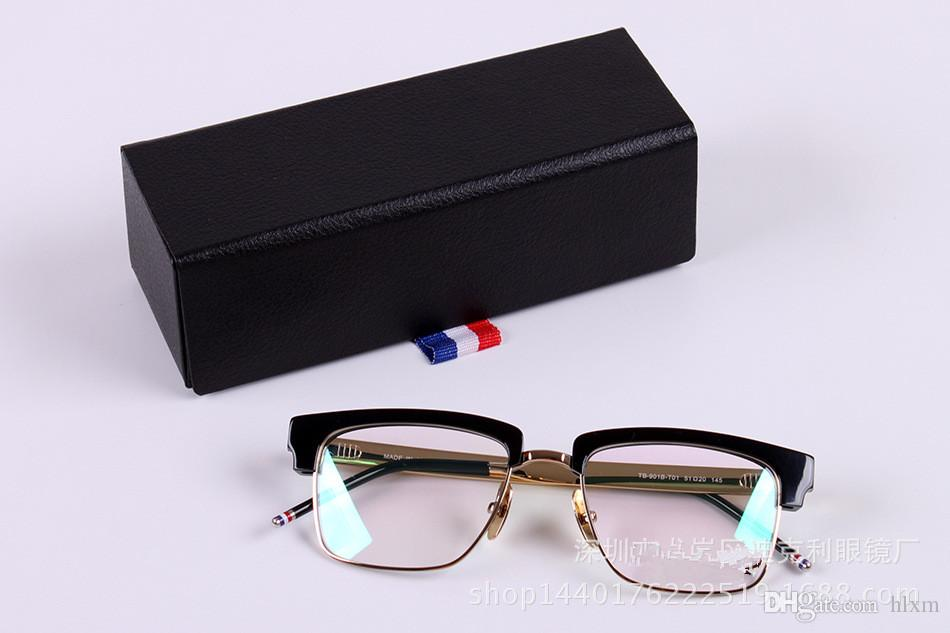 Brand 2016 new TB-901 glass frame male restoring ancient ways round box flat mirror frames myopia framework