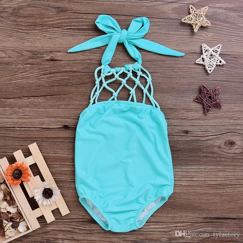 Summer Baby Girls Swimwear Swimsuit Bathing Suit Beachwear Solid Color Blue Fishing Net Bowknot Swimsuit One-iece