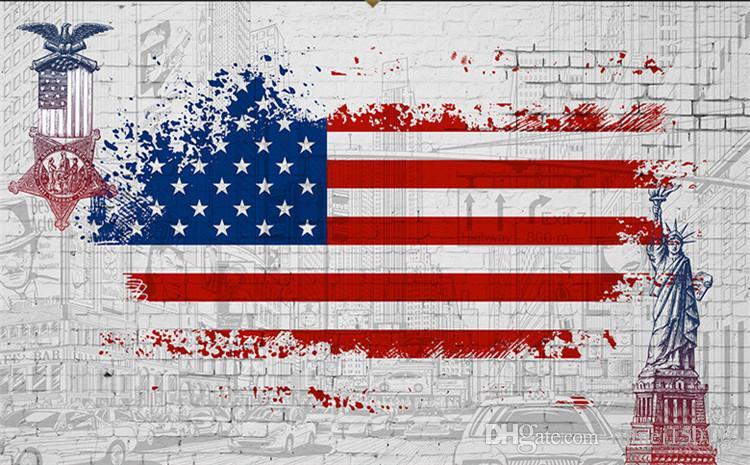 Papel pintado pintado a mano la bandera de los Estados Unidos de la estatua de la libertad ciudad restaurante creativo bar salón papel tapiz murales grandes