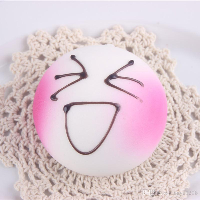 7CM Jumbo DIY Expression Squishy Soft White Body Pink Face Bread Scented Phone Charms Bun Straps
