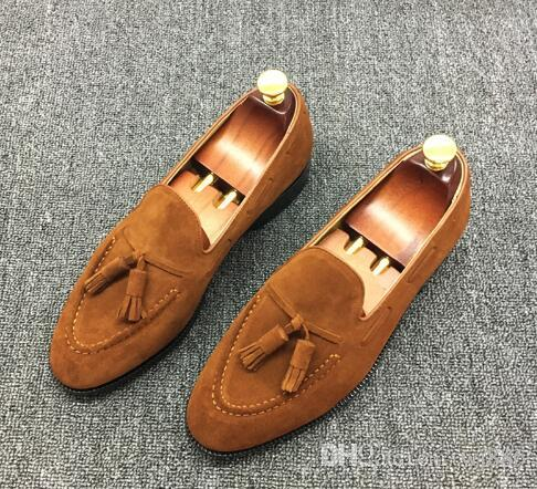 1cde2093d9e Men Luxury Brand Loafer Male Suede Leather Causal Shoes Celebrity Style Tassel  Moccasin Gentlemen Leather Lining Shoes