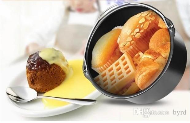 일반 튀김기 에어 프라이어 액세서리 케이크 베이킹 바구니 제빵 요리 팬 오븐용 접시 프라이 1.3L 라운드 에어