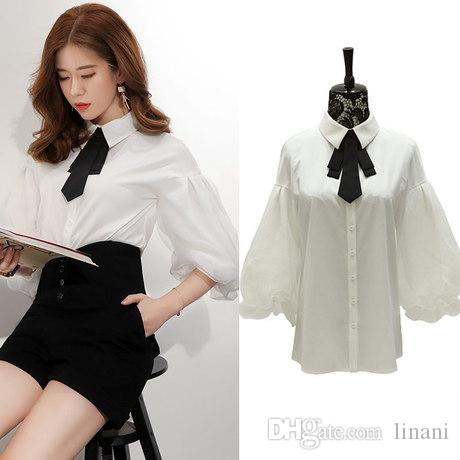 01ddb74e4cf521 Victoria Europe 1/2 Lantern Sleeve Top Womens Bow Tie Neck Blouse White  Plus Size Elbow Sleeve Shirts Canada 2019 From Linani, CAD $43.78 | DHgate  Canada