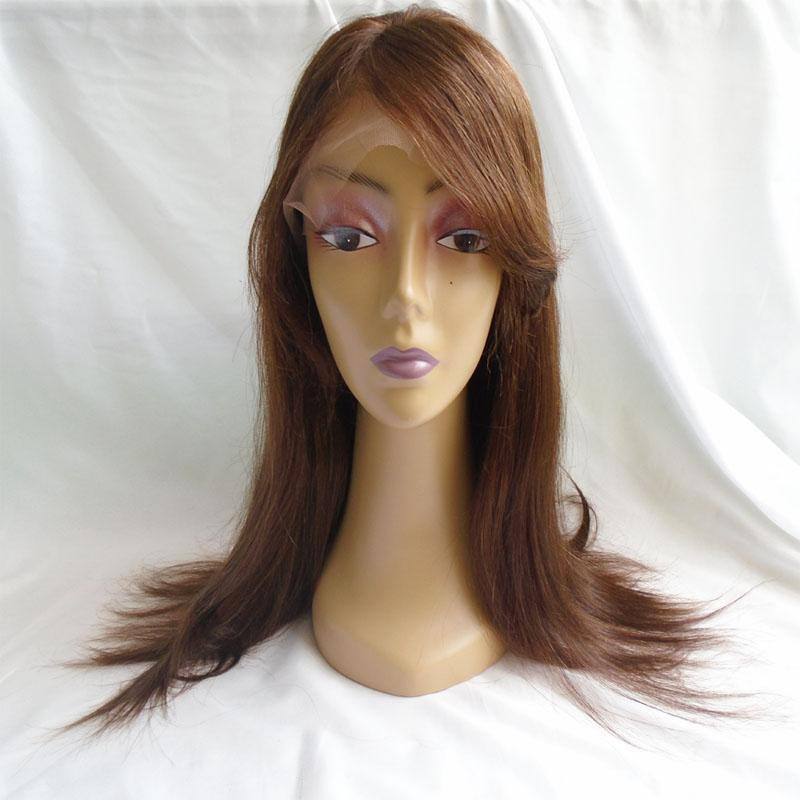 Glueless Full Lace Wigs With Bangs 4 Brown Straight Indian Virgin Human Hair Lace Front Wigs For Black White Women 8-24 inch