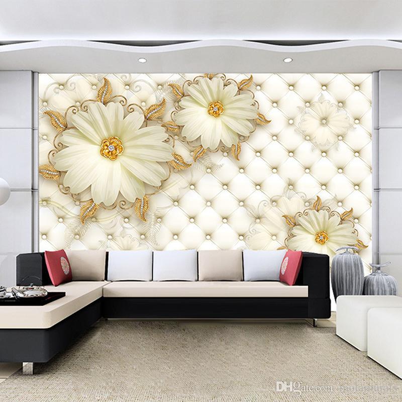 Kundenspezifische moderne Fototapete moderne 3D Fresko 3d Luxus Gold Blumen für warme Wohnzimmer Sofa TV Wand Hintergrund Dekoration