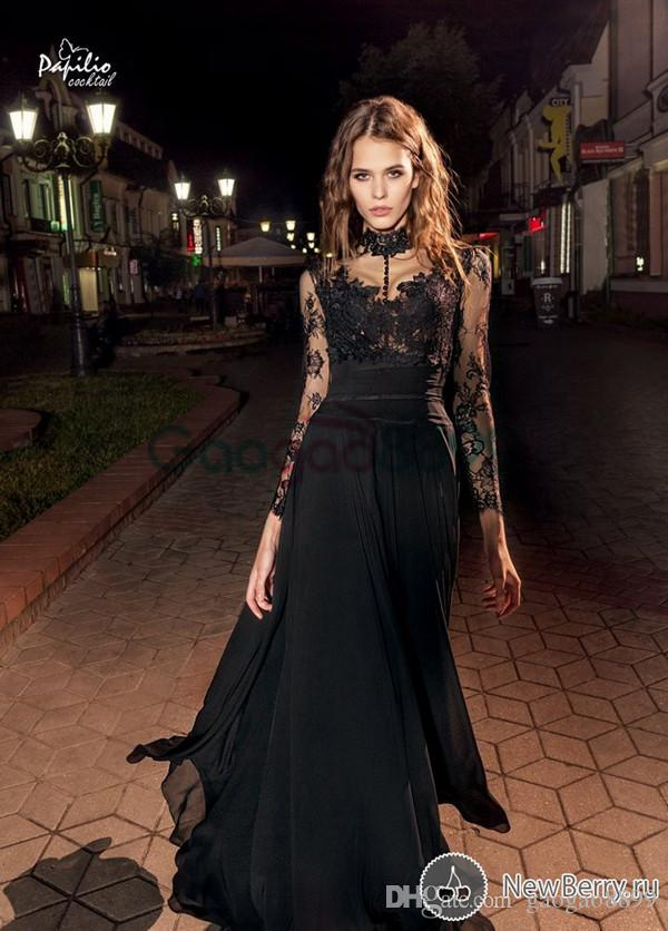 Elie Saab Prom Gowns Floor Length High Neck Lace Appliques Transparent Long Illusion Sleeve A Line Chiffon Black Evening Dresses