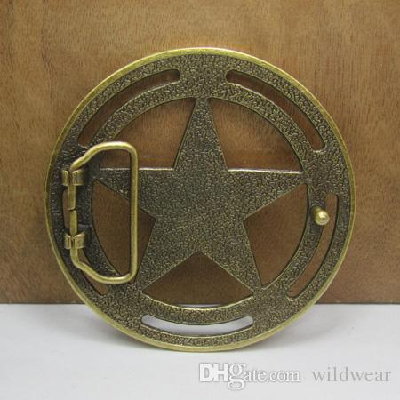 BuckleHome five-pointed star belt buckle with antique brass finish FP-03541 with continous stock