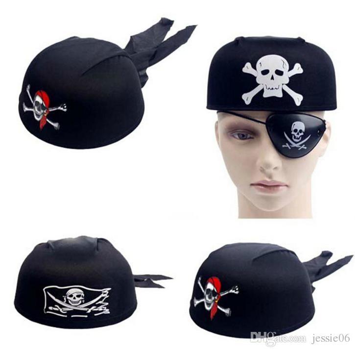 Kostüm Skull Piraten Kapitän Hut Kopf Schal Mütze Party Halloween Kostüm Anzieh Hut für Spaß Pirate Cosplay schwarz